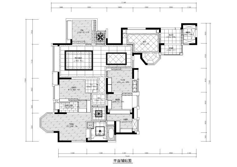 [四川]知名地产城南一号样板间施工图+效果图-地面铺装图