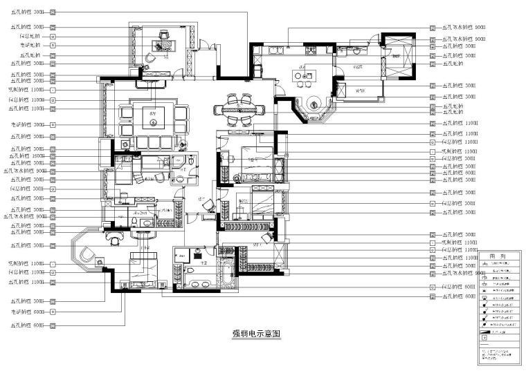 [四川]知名地产城南一号样板间施工图+效果图-强弱电示意图