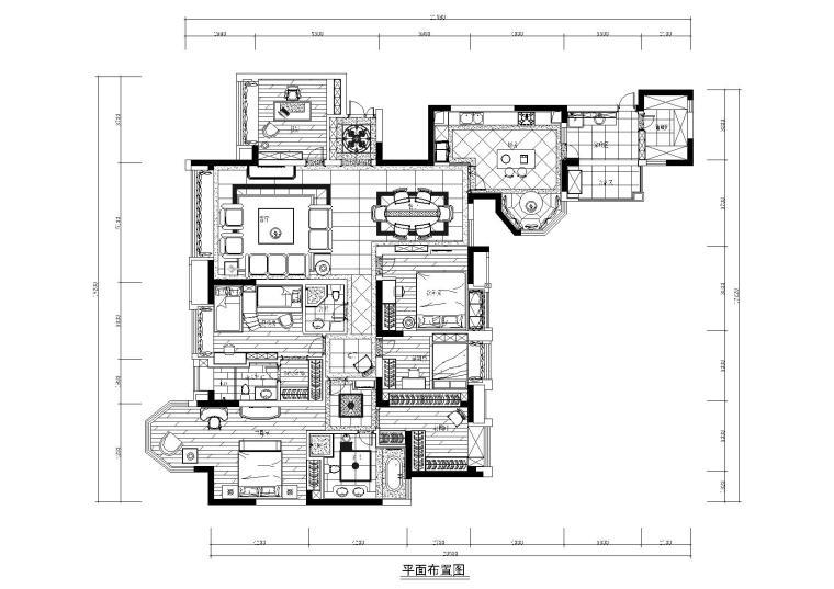 [四川]知名地产城南一号样板间施工图+效果图-平面布置图