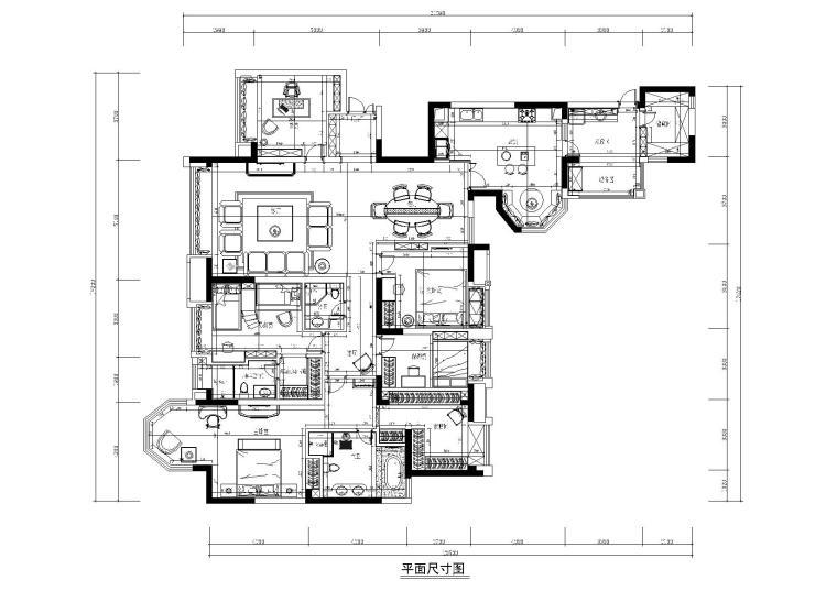 [四川]知名地产城南一号样板间施工图+效果图-平面尺寸图