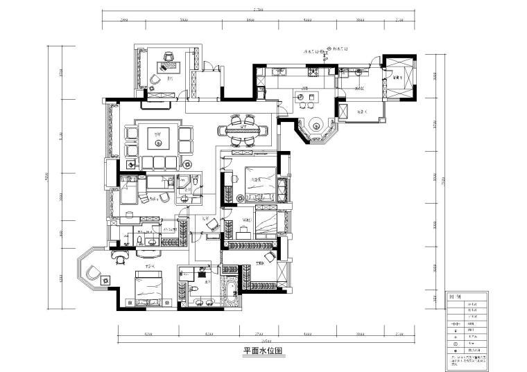 [四川]知名地产城南一号样板间施工图+效果图-冷热水布置图