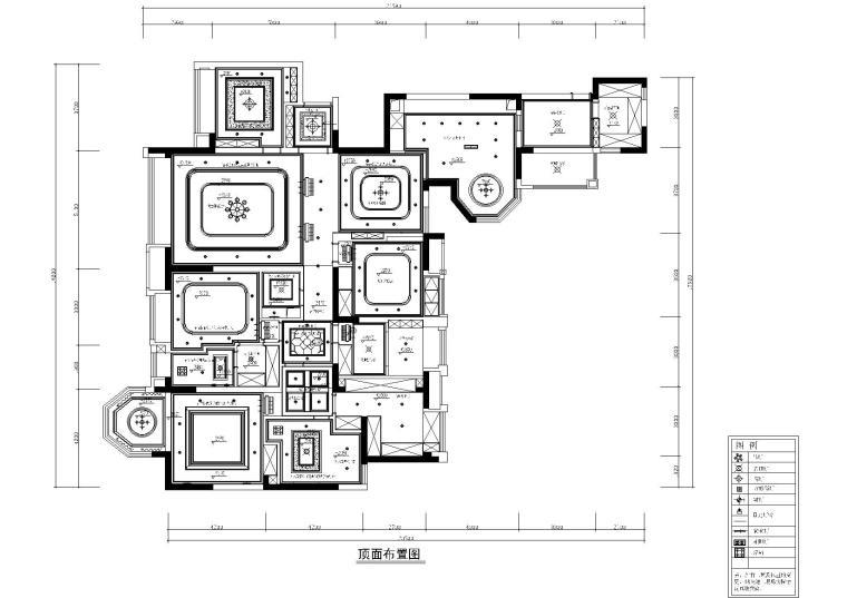 [四川]知名地产城南一号样板间施工图+效果图-天花布置图