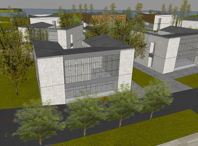 [山东]海尔研究中心企业办公楼建筑模型设计(方案一|中式风格)-001 方案一 场景一