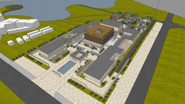 [山东]海尔研究中心企业办公楼建筑模型设计(方案一|中式风格)-方案一 场景二