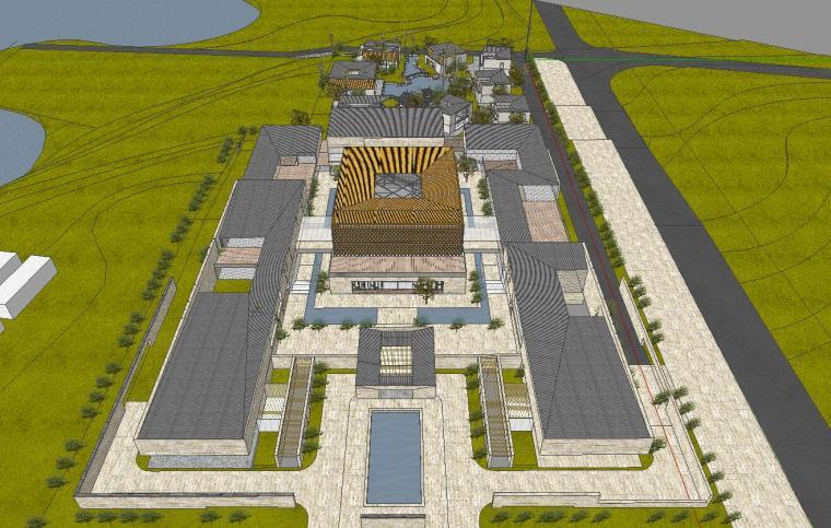 [山东]海尔研究中心企业办公楼建筑模型设计(方案一|中式风格)-方案一 场景三