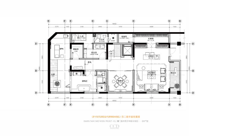 CCD-泰禾厦门院子叠拼四居室别墅样板房概念深化方案+高清效果图丨46P-05 D3 负二层平面布置图