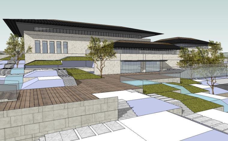[山东]海尔研究中心企业办公楼建筑模型设计(方案二|中式风格)