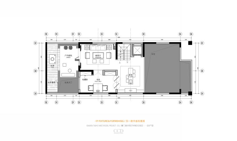 CCD-泰禾厦门院子叠拼四居室别墅样板房概念深化方案+高清效果图丨46P-06 D3 负一层平面布置图