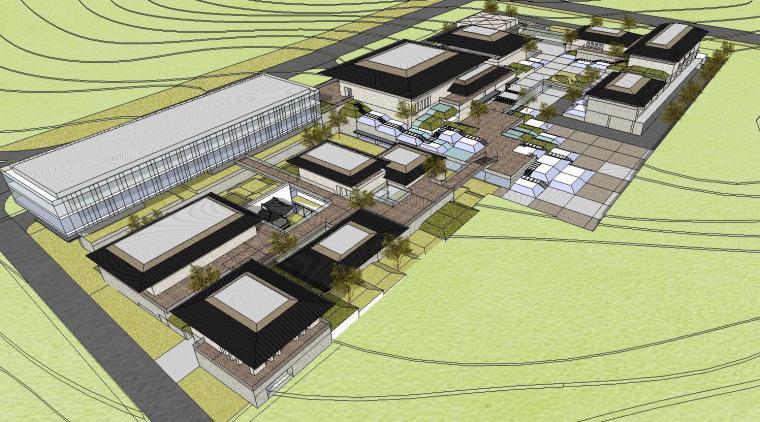 [山东]海尔研究中心企业办公楼建筑模型设计(方案二 中式风格)-场景四