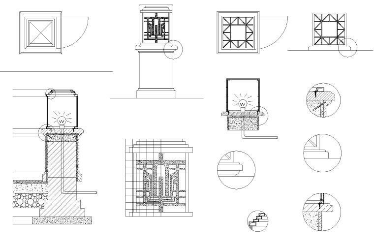 某居住区欧式灯柱大详图CAD图纸