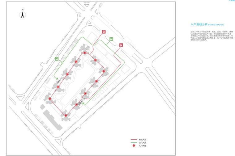[广东]欧陆风格居住区建筑方案文本(PDF+127页)-入户流线分析