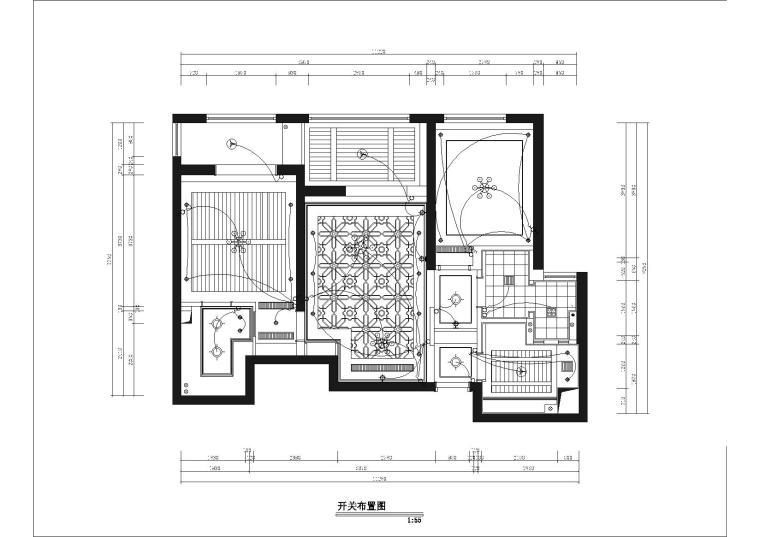 [武汉]福星惠誉国际城一期样板间CAD施工图-开关布置图