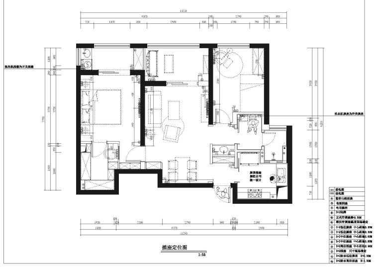 [武汉]福星惠誉国际城一期样板间CAD施工图-插座定位图