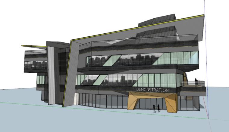 沈阳三台子售楼处建筑模型设计(现代风格)-三台子售楼处+cad (1)
