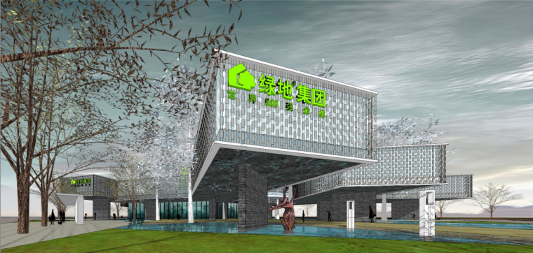 [广东]绿地佛山售楼处建筑模型设计(现代风格)