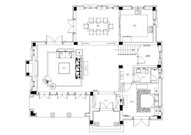[山东]绿城莱芜雪野湖桃花源中式别墅施工图-一层平面布置图