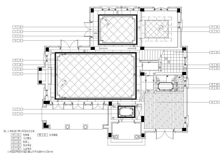 [山东]绿城莱芜雪野湖桃花源中式别墅施工图-地面铺装图