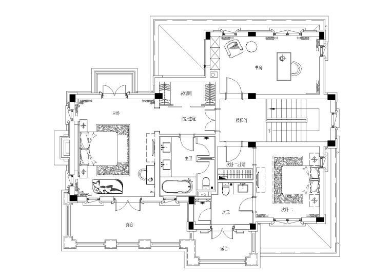 [山东]绿城莱芜雪野湖桃花源中式别墅施工图-二层平面布置图