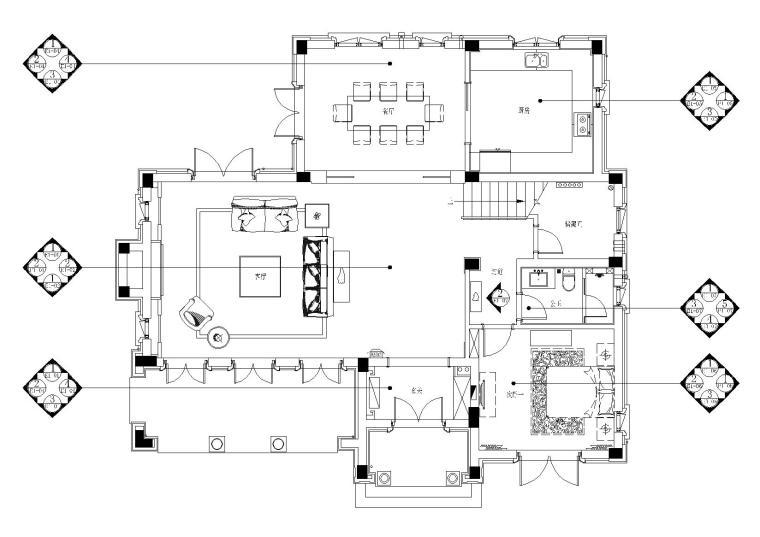 [山东]绿城莱芜雪野湖桃花源中式别墅施工图-立面索引图