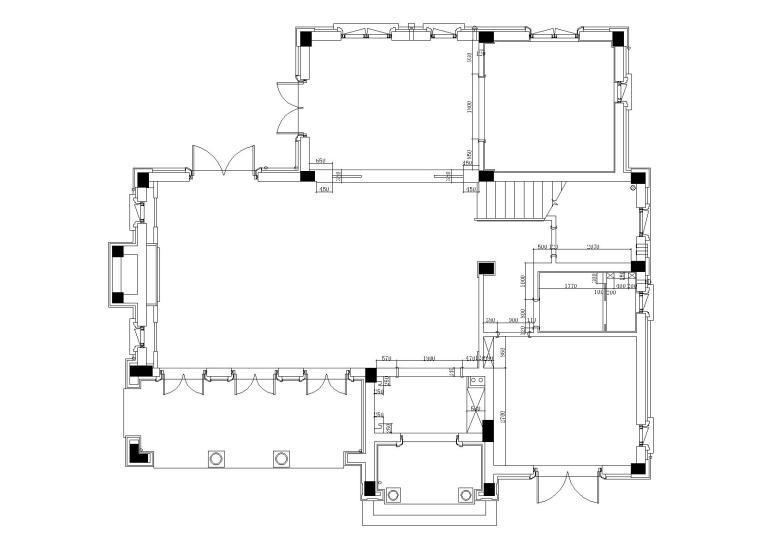 [山东]绿城莱芜雪野湖桃花源中式别墅施工图-隔墙尺寸图