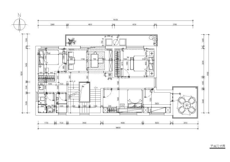 [浙江]杭州千岛湖住宅样板间CAD施工图+实景-三层平面布置图