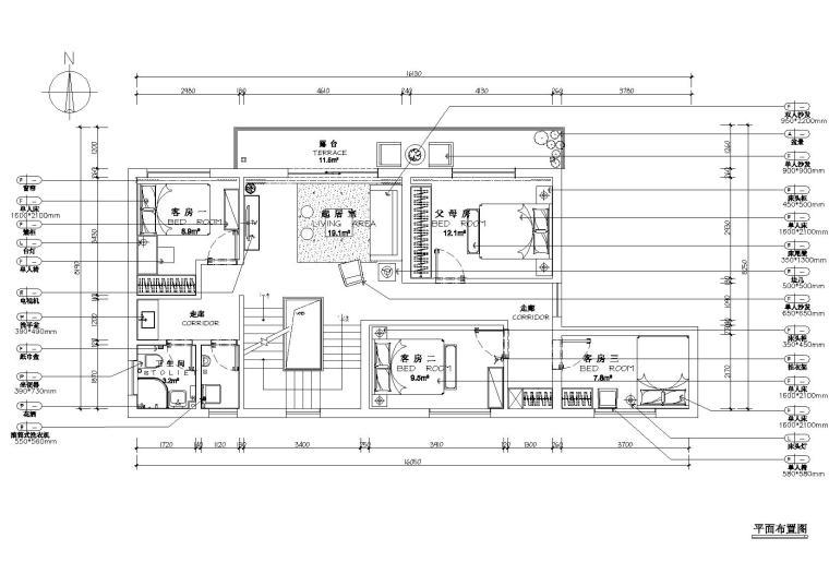 [浙江]杭州千岛湖住宅样板间CAD施工图+实景-二层平面布置图