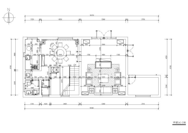 [浙江]杭州千岛湖住宅样板间CAD施工图+实景-平面尺寸图