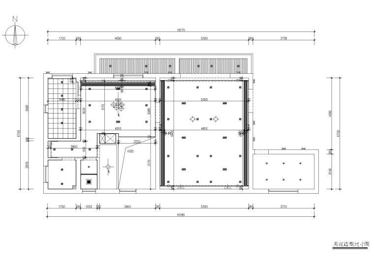 [浙江]杭州千岛湖住宅样板间CAD施工图+实景-天花造型尺寸图