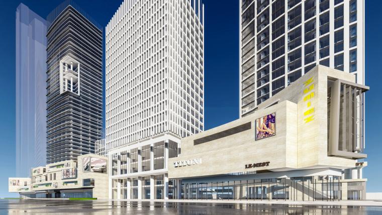 现代风格商业综合体建筑模型设计(2018年)