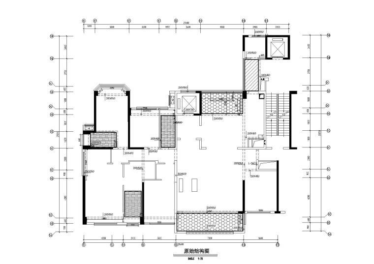 [广东]惠州中洲湾上花园样板间施工图+实景-原始结构图