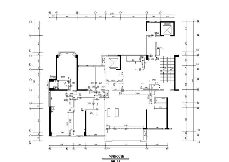 [广东]惠州中洲湾上花园样板间施工图+实景-墙体尺寸图