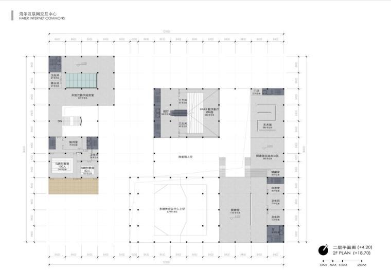 [山东]海尔研究中心企业办公楼建筑方案设计(现代风格|PDF+38页)-二层平面图
