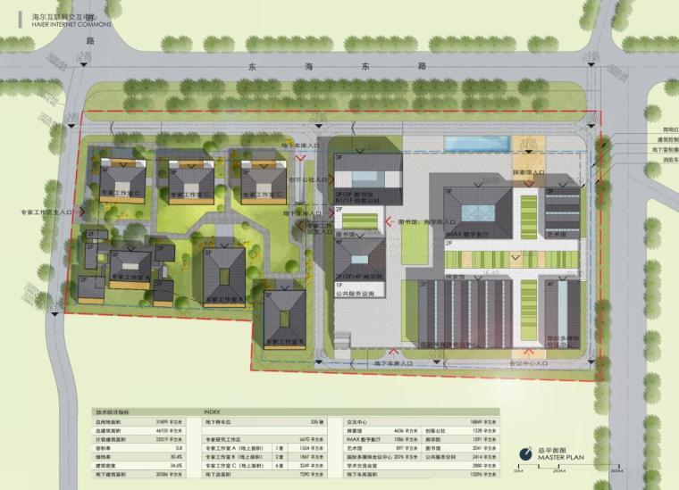 [山东]海尔研究中心企业办公楼建筑方案设计(现代风格|PDF+38页)-总平面图
