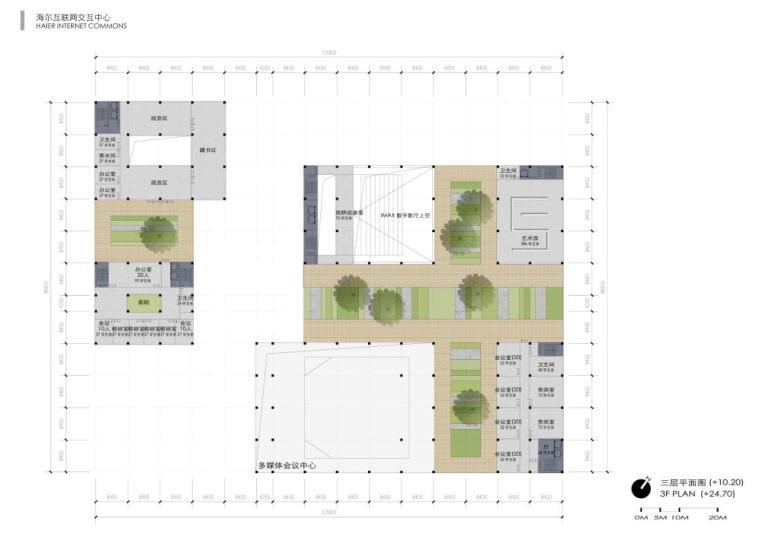 [山东]海尔研究中心企业办公楼建筑方案设计(现代风格|PDF+38页)-三层平面图