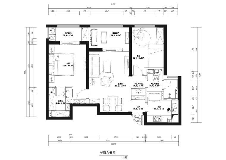 [武汉]德间-福星惠誉国际城一期样板间CAD施工图+效果图+设计说明