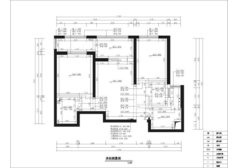 [武汉]福星惠誉国际城一期样板间CAD施工图-原始墙体图