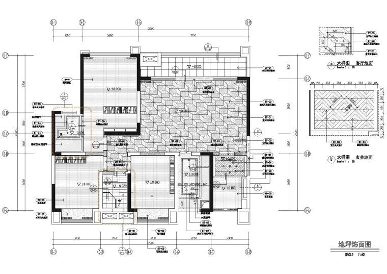 [四川]成都中洲白鹭郡样板间施工图+实景图-地面铺装图