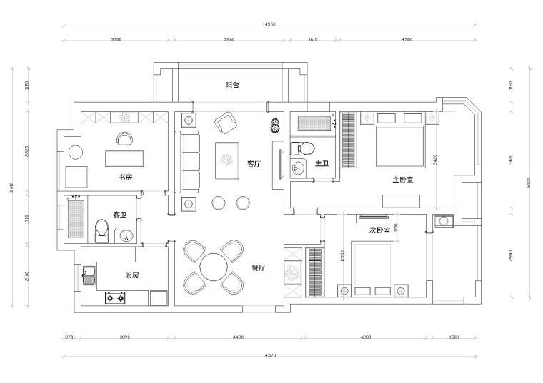[江苏]徐州盛世孔雀城A户型样板房CAD施工图
