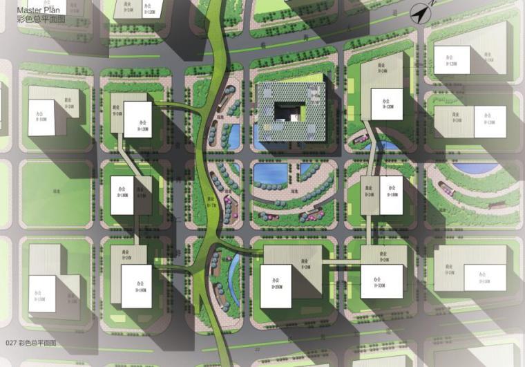 [广东]现代风格大厦建筑方案文本(PDF+46页)-彩色总平面图
