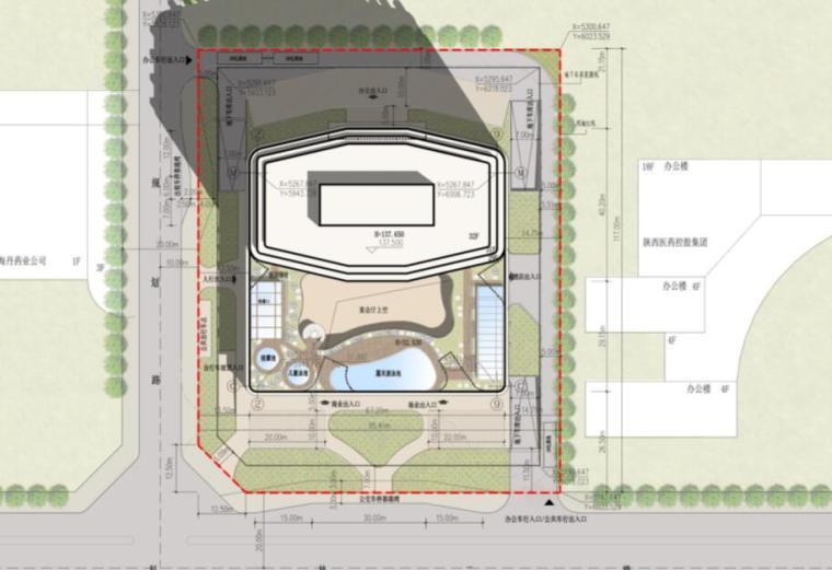 [陕西]西安竹园企业总部大楼建筑方案文本(现代风格|PDF+85页)-总平面图