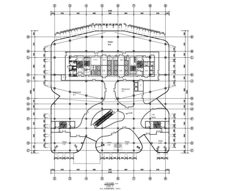 [陕西]西安竹园企业总部大楼建筑方案文本(现代风格|PDF+85页)-三层平面图