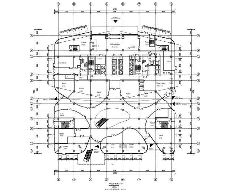 [陕西]西安竹园企业总部大楼建筑方案文本(现代风格|PDF+85页)-一层平面图