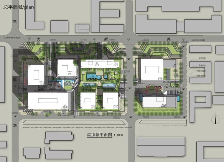 [广东]立润现代风格富达商业广场建筑方案文本设计(PDF+130页)-总平面图
