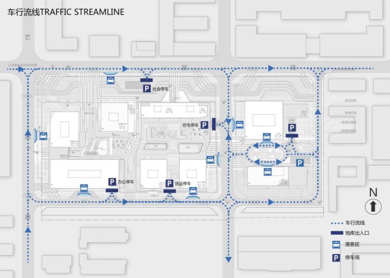 [广东]立润现代风格富达商业广场建筑方案文本设计(PDF+130页)-车行流线