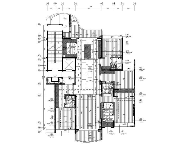 [广东]LTW--广州雅居乐样板间C2户型室内装修施工图(现代风格三居室)-5地坪饰面图