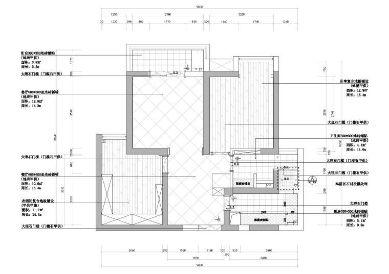 [武汉]福星惠誉水岸国际样板间CAD施工图-地面铺装图