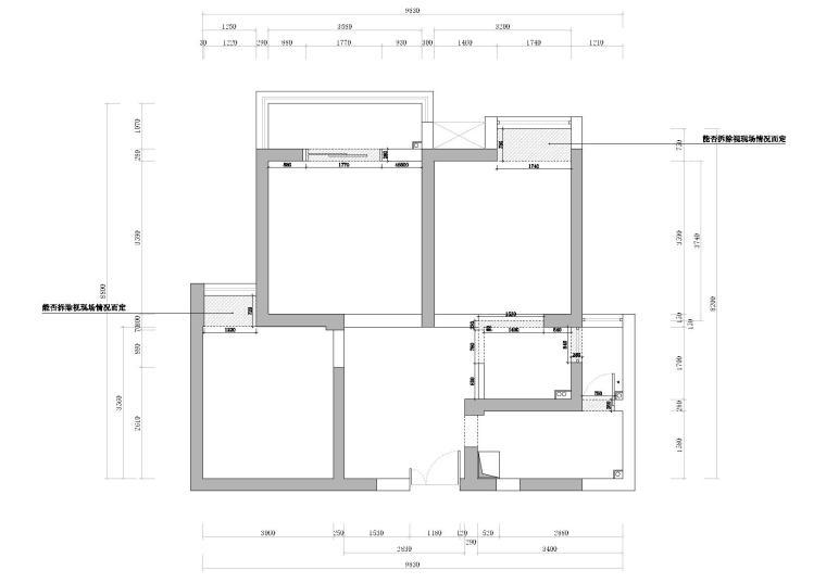[武汉]福星惠誉水岸国际样板间CAD施工图-拆墙定位图