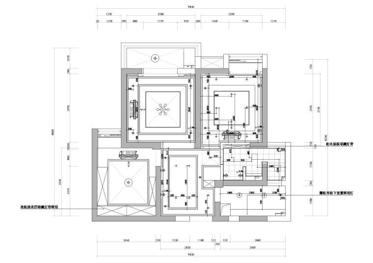 [武汉]福星惠誉水岸国际样板间CAD施工图-灯具定位图