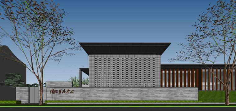 住宅中心售楼处建筑模型设计(中式风格)
