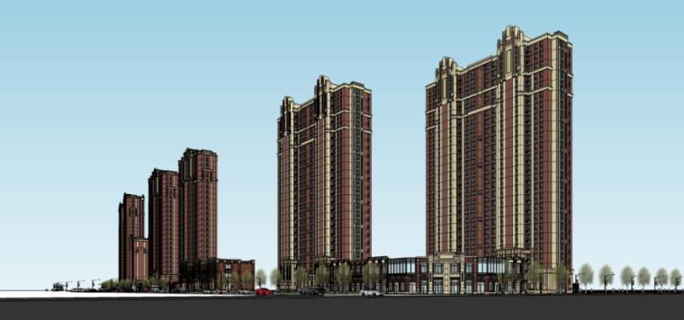 欧陆风格北侧商业+高层住宅建筑模型设计